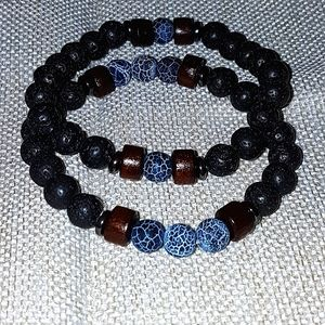 Lava stone bracelets pair, never worn!